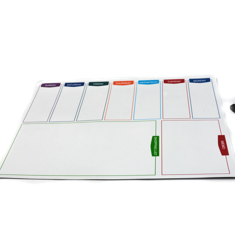 Large A3 Magnetic Whiteboard Family Weekly Planner Shopping List+ 2 Free Marker 10