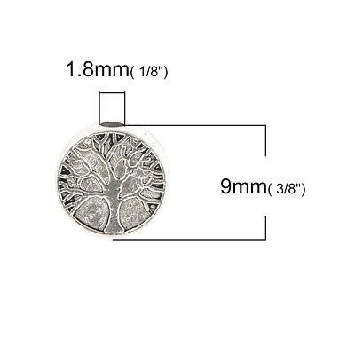 lot de 10 perles argent tibétain 9 mm arbre de vie 3