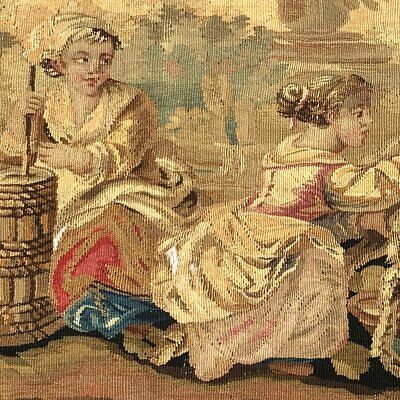"""RARE 55.5"""" Long Antique French Aubusson Tapestry Fragment, Sofa Panel, Figural 4"""
