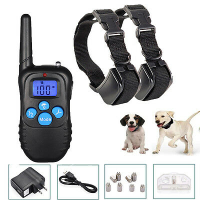 Electric Remote Dog Training Collar Rechargeable Shock Collar For 2 Dogs 330Yard