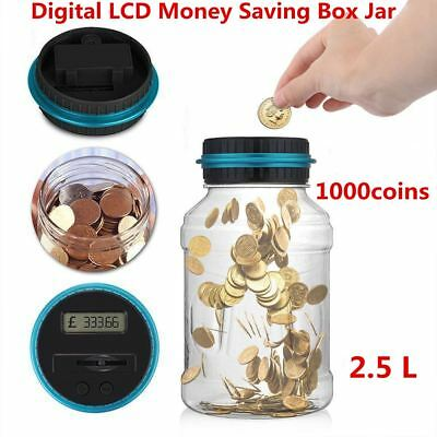 Coin Auto Counting MONEY JAR Cup Digital LCD Automatic Counter Piggy Bank Change 4