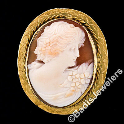 Vintage 14K Yellow Gold Carved Shell Cameo Hand Engraved Frame Brooch Pendant 2