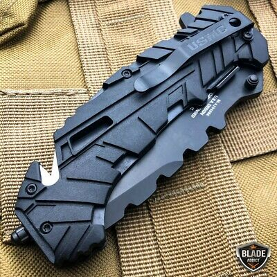 """9"""" MTECH USMC MARINES Spring Assisted Open Tactical Rescue Folding POCKET KNIFE 4"""