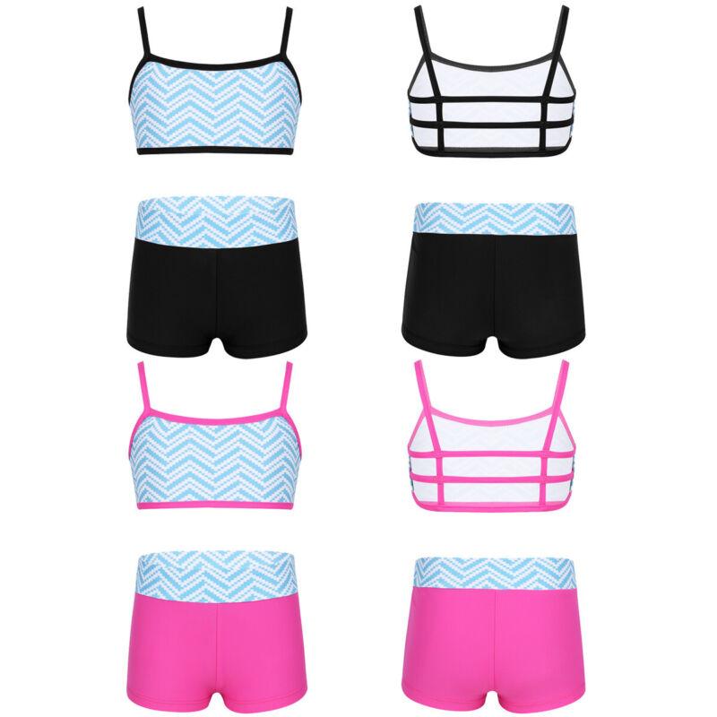 Kinder Mädchen Sport Outfit Spaghetti-Träger Tanktop + Shorts Gymnastik Tanz Set 2