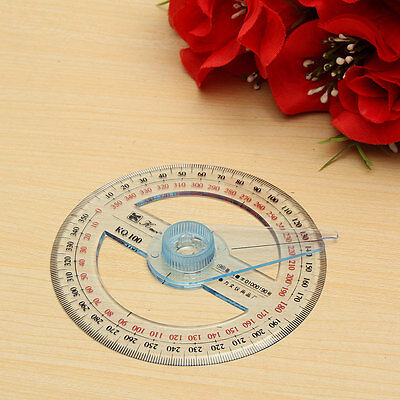 New Plastic 360 Degree Protractor Ruler Angular Viewer Swing Arm School Office 4