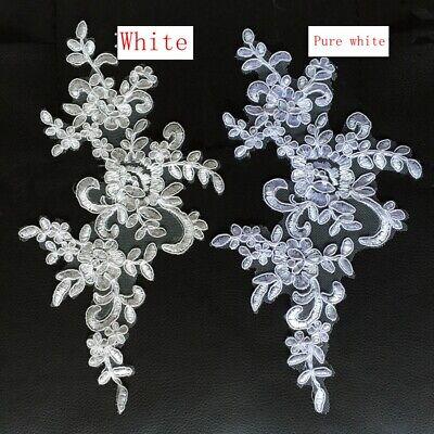 1Pair Embroidered Flower Lace Applique Motif Trim Wedding Dress Sew Crafts DIY 1 9