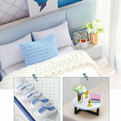 AU DIY LED Music Apartments Dollhouse Miniature Wooden Furniture Kit Doll House 9