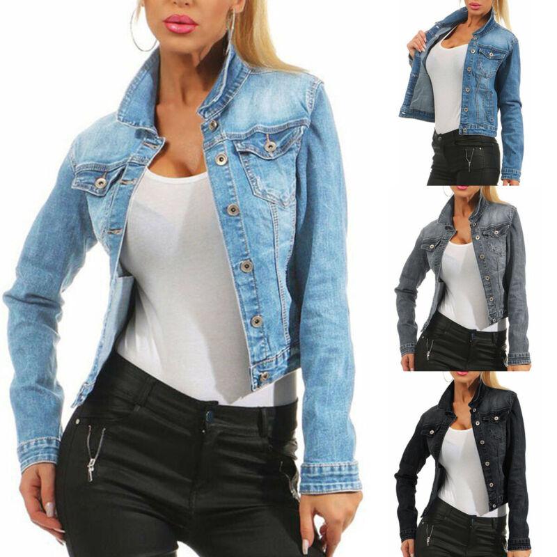 Women Lady Denim Jacket Jeans Stretch Fitted Button Jackets Coat Plus Size UK