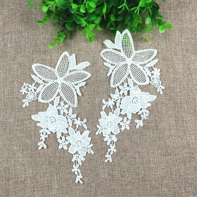 1 Pair Embroidery DIY Lace Applique Sewing Wedding Dress Trim Craft Patch Decor 2
