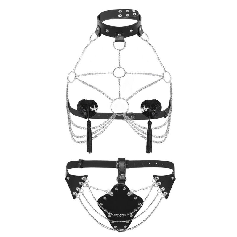 Damen Body Körper Kette BH Harness Leder Fesseln Ketten mit Halsband G-string 6