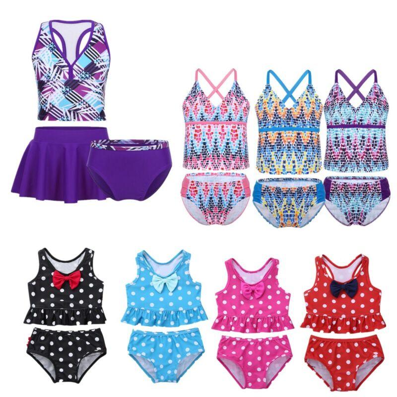 Girls Baby Kid Swimsuit Two Piece Tankini Swimwear Bikini Set Beach Bathing Suit 2