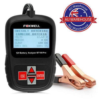 FOXWELL BT100 PRO 6V 12V Car Battery Tester For Flooded AGM GEL 100 to 1100 CCA