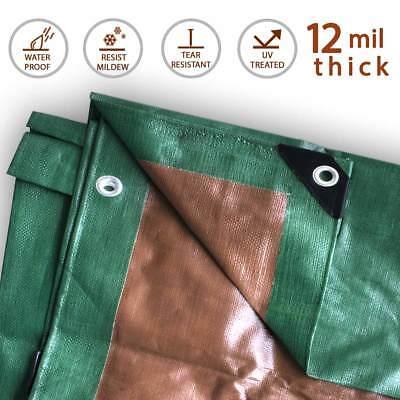 12 Mil Heavy Duty Tarp Green Brown Reversible Tarpaulin Waterproof UV Cover 2