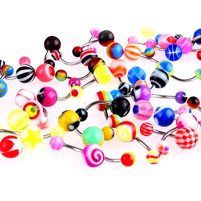 50 Pcs Belly Button Navel Ring Bar Bars Body Piercing Jewellery Rings Makeup UK 2