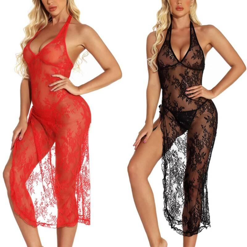 Women Sexy Lace Lingerie Dress G-String Thong Robe Babydoll Sleepwear Nightwear 7