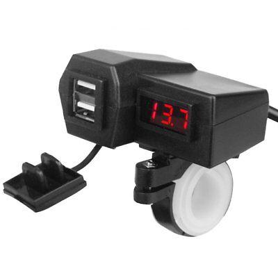 12V/24V Waterproof ATV Boat Motorcycle Dual USB Charger LED Display Voltmeter