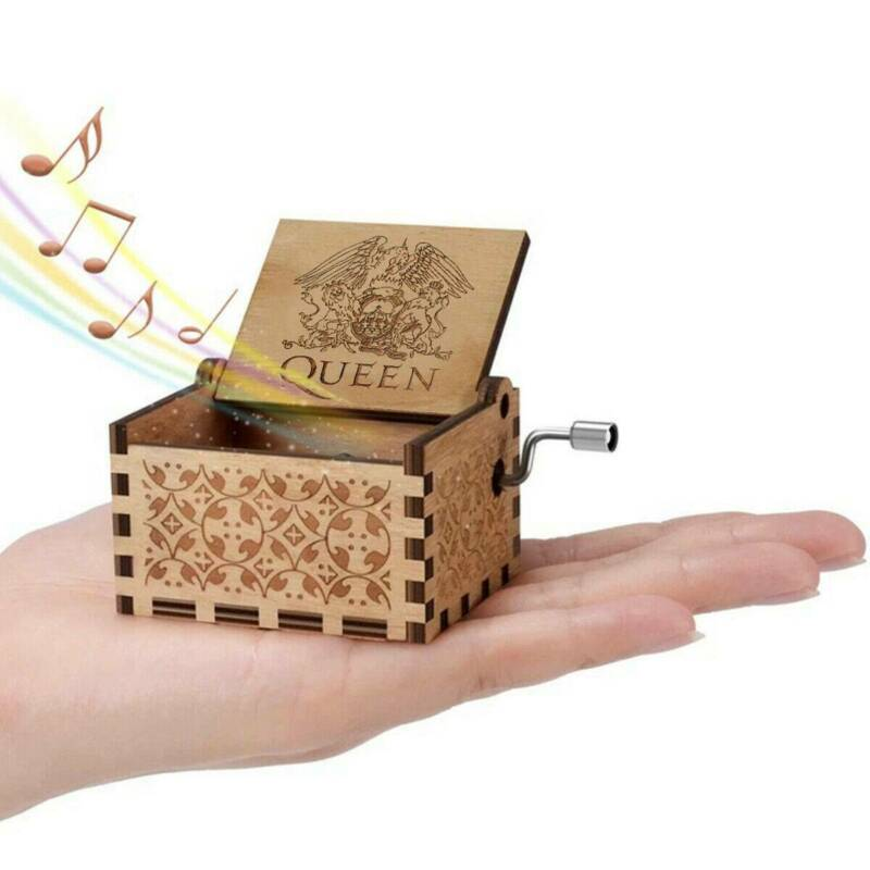 Hand Crank Wooden Engraved Queen Music Box Kids Christmas Gift 64*52mm 5