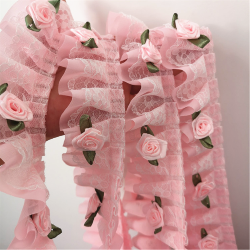 1Yard Rose Flower Ruffle Lace Trim Chiffon Pleated Frill Ribbon DIY Sewing Craft