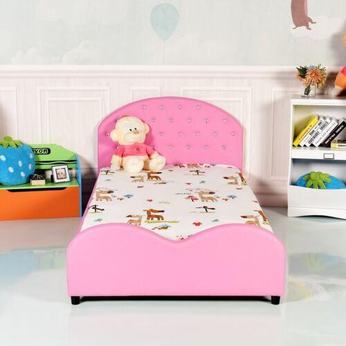PINK UPHOLSTERED BED Frame Girls Princess Bedroom Platform ...