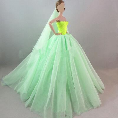Handmade Royalty Princess Dress/Wedding Clothes/Gown + veil for Barbie Doll 7