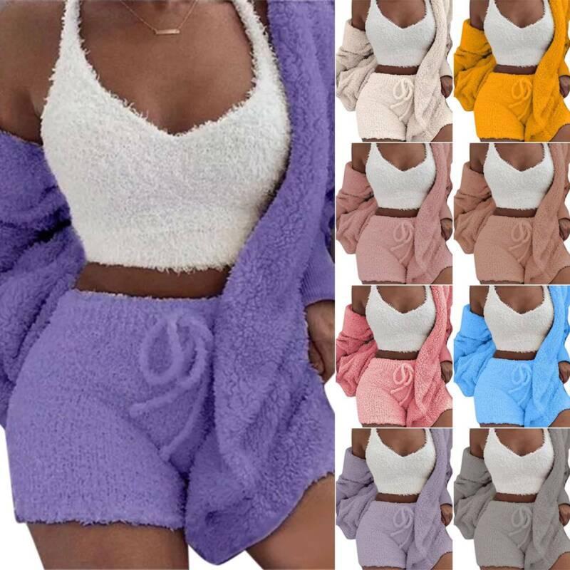 Women Fleece Sleepwear Hoodie Jacket + Crop Top + Shorts 3PCS Outfits Loungewear 2