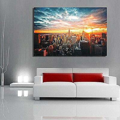 Modern Art New York City Sunset Poster Wall Cityscape Cloth Print Home Decor New 3