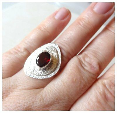 925 Sterling Silver HESSONITE GARNET Semi Precious GEMSTONE RING SZ N1/2 - US 7 3