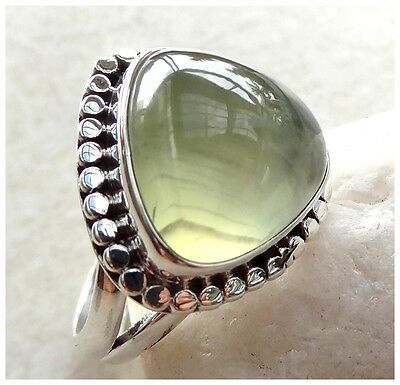 925 Sterling Silver PREHNITE Semi Precious Gemstone RING SIZE P  - US 7 3/4