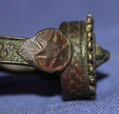 Antique folk medieval Greek hand made bronze ring