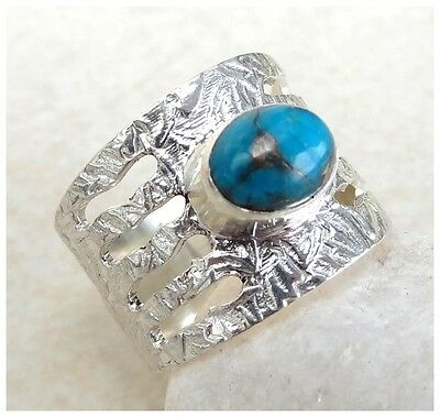 925 Sterling Silver BLUE TURQUOISE Semi Precious Gemstone RING SIZE M 1/2 US 6.5
