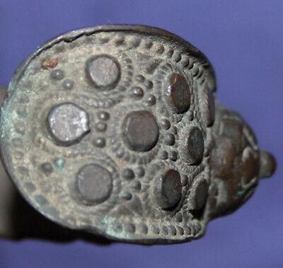 Antique hand made folk medieval Greek fertility bronze bracelet 9