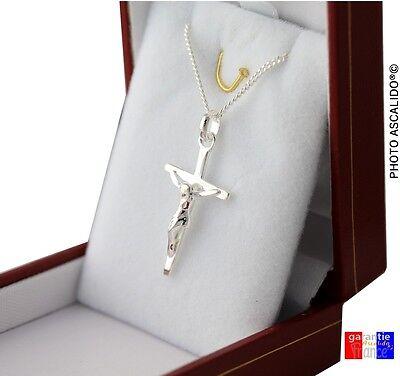 ... collier pendentif croix avec jesus en Argent Massif 925 avec chaine + boite  neuf 03e9a767656