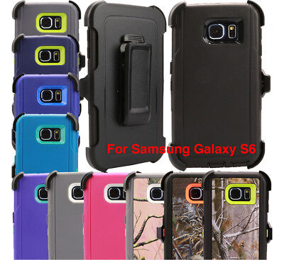 For Samsung Galaxy S6 Case Cover Rugged With (Belt Clip Fits Otterbox Defender) 2