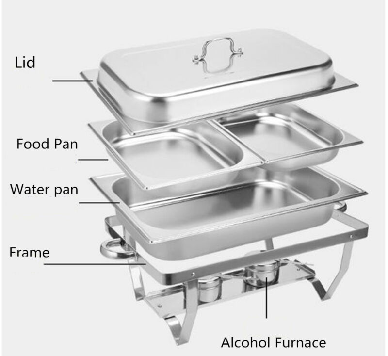 Bain Marie Bow Chafing Dishes Stainless Steel Buffet Warmer Stackable Set AU 8
