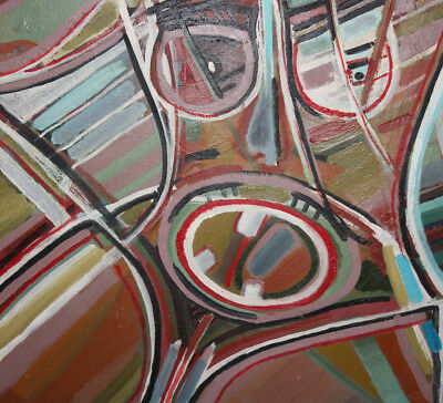Vintage expressionist cubist large oil painting signed 12