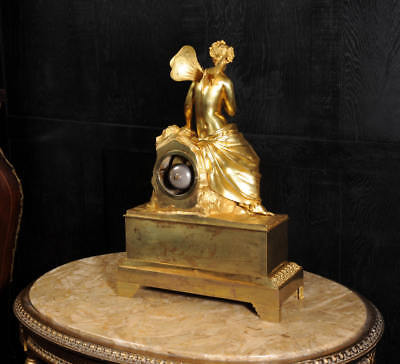 EARLY FINE BRONZE DORE ORMOLU ANTIQUE FRENCH CLOCK PSYCHE and the BUTTERFLY 1820 12