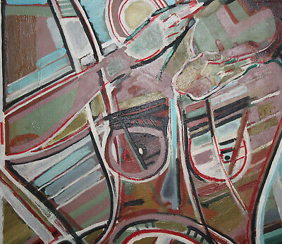 Vintage expressionist cubist large oil painting signed 9