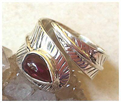 925 Sterling Silver Natural GARNET Semi Precious GEMSTONE RING SZ N1/2 - US 7