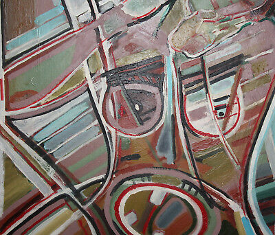 Vintage expressionist cubist large oil painting signed 10