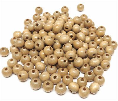 Lot de 100 Perles Rondes en Bois 8mm Marron clair 2