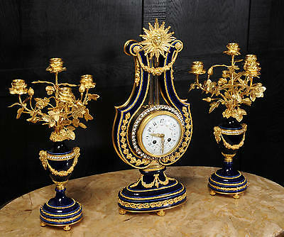 Fine Cobalt Blue Ormolu Louis Xvi Lyre Clock Set Mystery Jewelled Pendulum Bezel 2