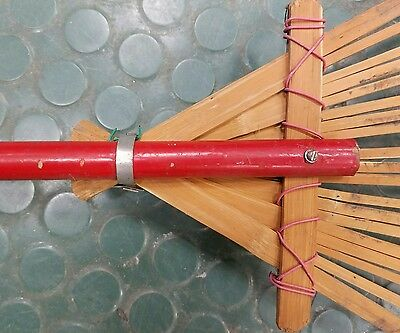 Vintage small garden hand rake Decorative Wood long handle