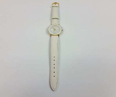 Xanadu Mother of Pearl White and Gold Watch with Faux Lizard Leather Band