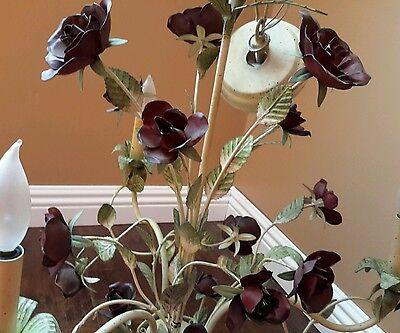 Vintage 3 Arm, Baroque Chandelier w Roses wrought iron Gorgeus 2