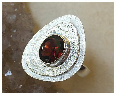 925 Sterling Silver HESSONITE GARNET Semi Precious GEMSTONE RING SZ N1/2 - US 7 2