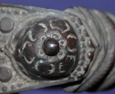 Antique hand made folk medieval Greek fertility bronze bracelet 7