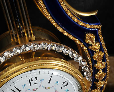 Fine Cobalt Blue Ormolu Louis Xvi Lyre Clock Set Mystery Jewelled Pendulum Bezel 8
