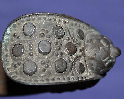 Antique hand made folk medieval Greek fertility bronze bracelet 11