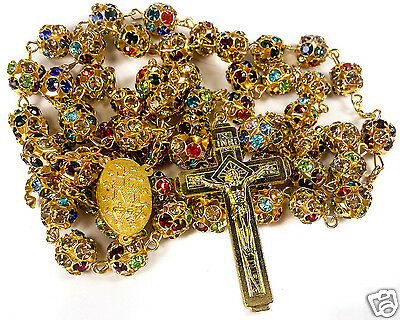 Colorful Zircon Beads Golden Rosary Catholic Necklace Miraculous Medal Cross 2