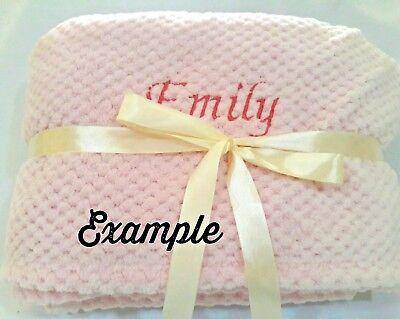 PERSONALIZED Stamped Glitter Minky Baby Girl Blanket - Newborn Baby Shower Gift